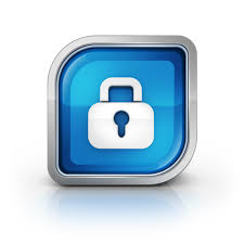 a lock surrounded by a blue polygon with rounded corners on the top left and bottom right