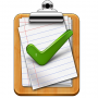 a clipboard icon with a piece of paper on it with a green check mark